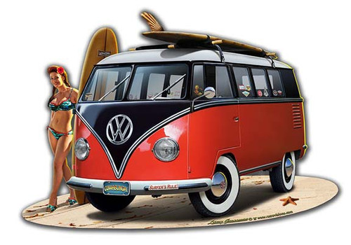 """VW and Pin-Up Beach""  Metal  Cut-Out   Sign"