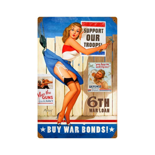"""BUY WAR BONDS--SUPPORT OUR TROOPS""  METAL SIGN"