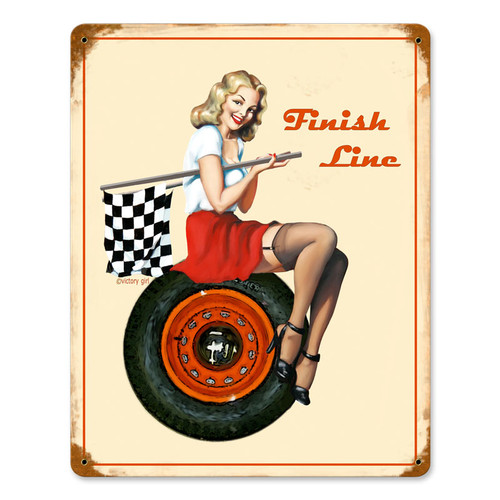 """ FINISH  LINE ""  VINTAGE METAL SIGN"