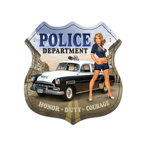 """POLICE  DEPARTMENT""  VINTAGE  META L SIGN"