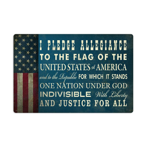 """THE  PLEDGE  OF  ALLEGIANCE ""  VINTAGE  METAL  SIGN"