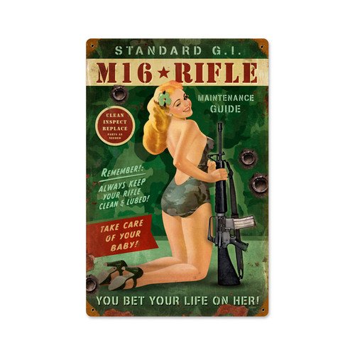 """M16  Pin-Up Girl""  Vintage metal  Sign"