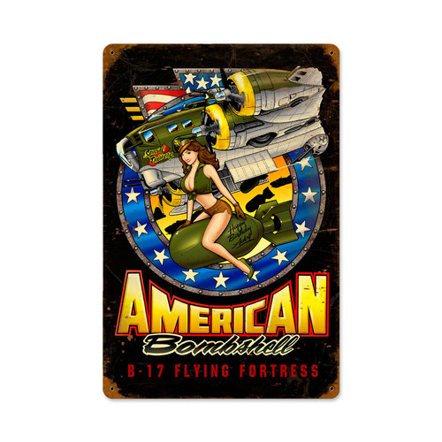 """ AMERICAN  BOMBSHELL""  METAL  SIGN"