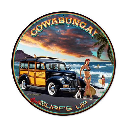 """""""COWABUNGA--SURF'S UP !""""  METAL SIGN"""