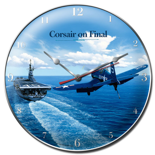 """""""CORSAIR  LANDING  ON  AIRCRAFT  CARRIER""""   CLOCK"""