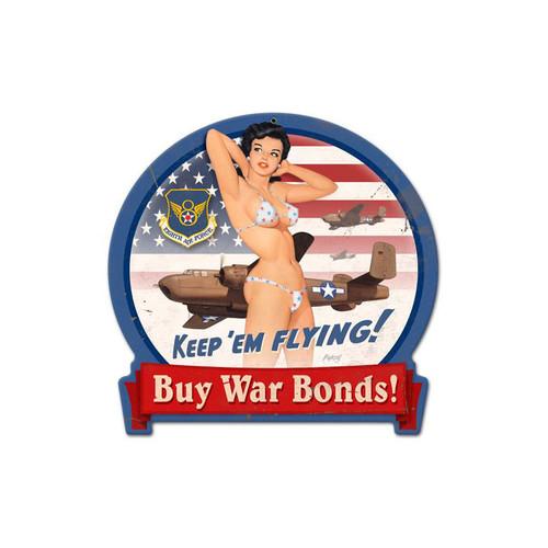 """""""B-25  WAR  BONDS""""  VINTAGE METAL SIGN"""