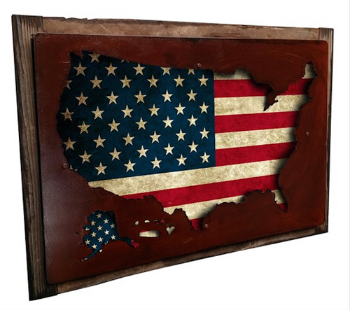 """3-D USA MAP DISPLAY"" -- FRAMED WALL ART"