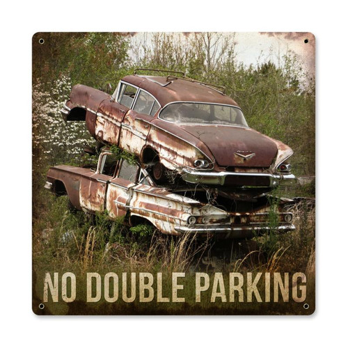 """""""NO  DOUBLE  PARKING""""  METAL  SIGN"""