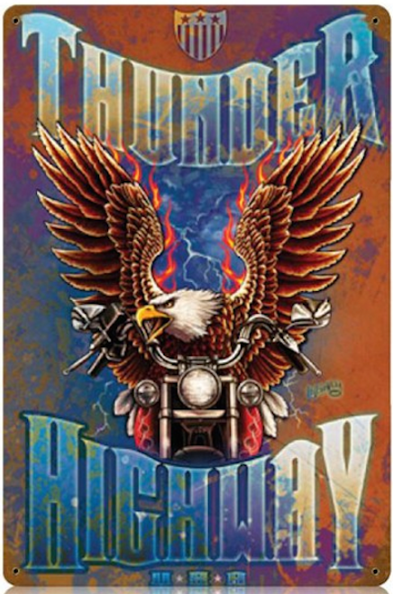 """THUNDER  HIGHWAY""  METAL  SIGN"