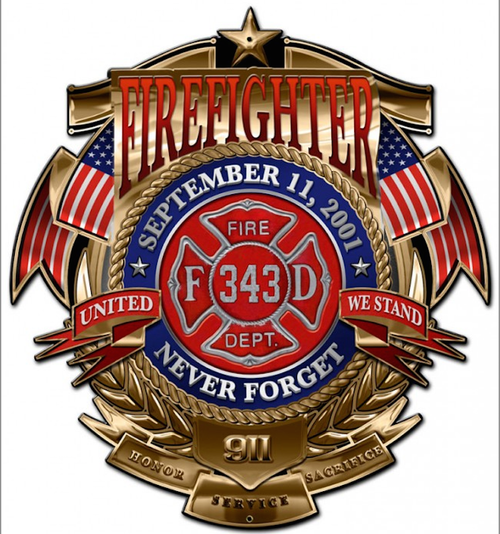 """""""FIREFIGHTER-9/11--NEVER FORGET""""  METAL  SIGN"""