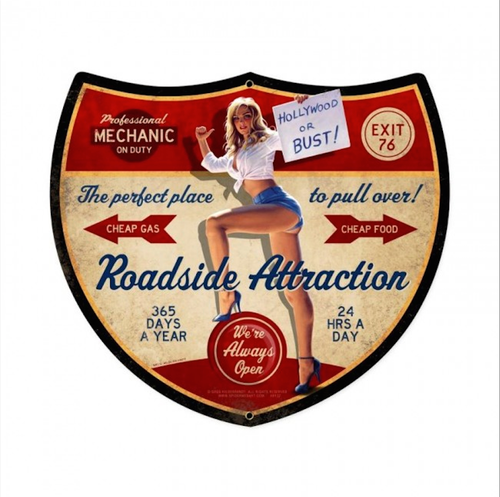 """ROADSIDE  ATTRACTION""  VINTAGE  METAL  SIGN"