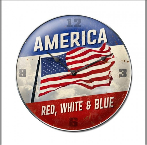 """AMERICA...RED, WHITE, AND BLUE"" CLOCK"