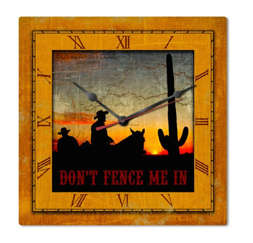 """""""DON'T FENCE ME IN"""" COWBOY CLOCK"""