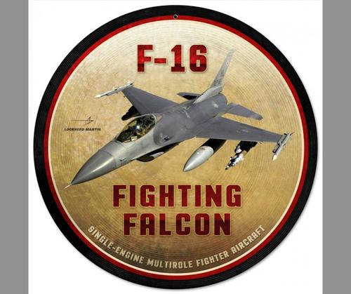 """F16  FIGHTING  FALCON"" METAL SIGN"