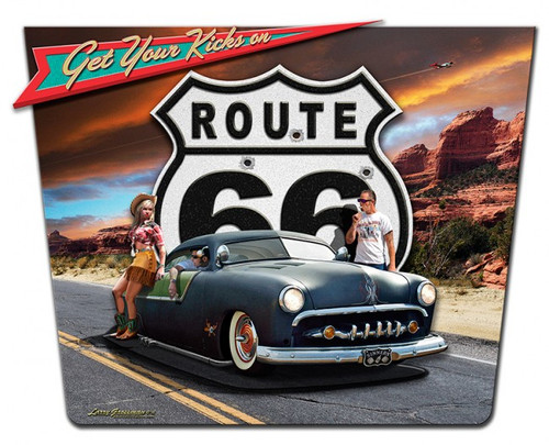 """""""GET YOUR KICKS ON ROUTE 66"""" METAL SIGN"""