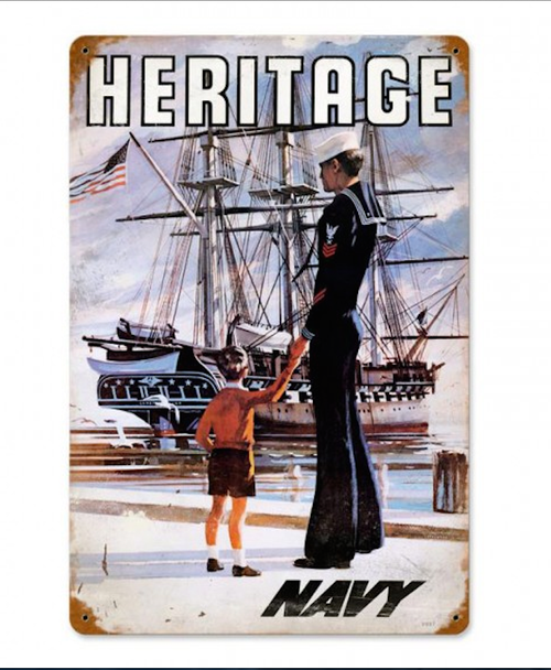 """NAVY  HERITAGE""  METAL   SIGN"