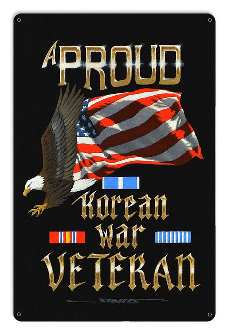 """PROUD  KOREAN  WAR  VETERAN""  METAL  SIGN"