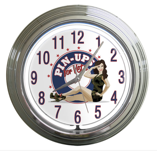 """Pin-Ups For Vets   Neon  and  Chrome Clock"""