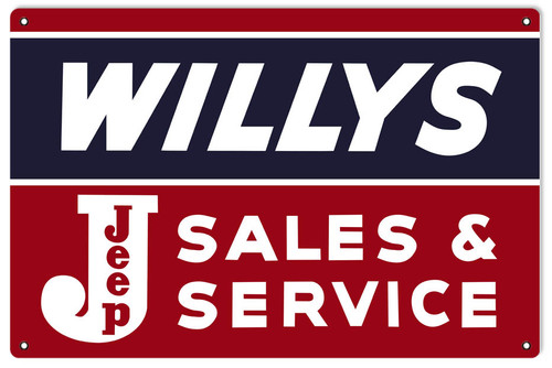 """""""Willys Jeep Sales And Service"""" Metal  Sign"""