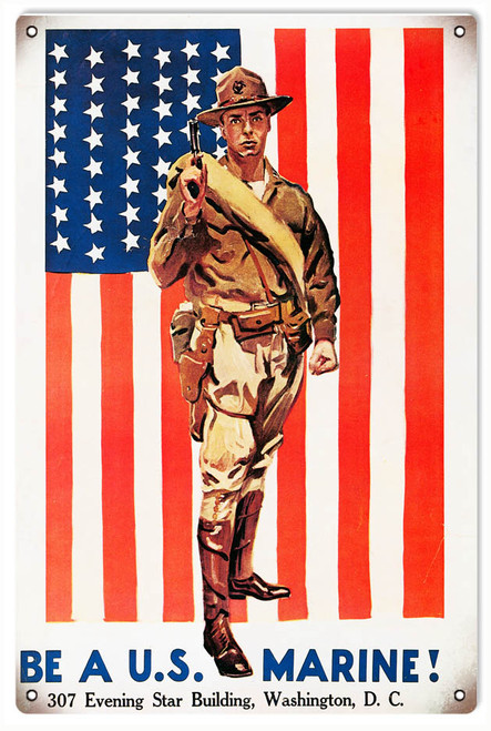 """BE  A  U.S.  MARINE""  REPRODUCTION  METAL  SIGN"