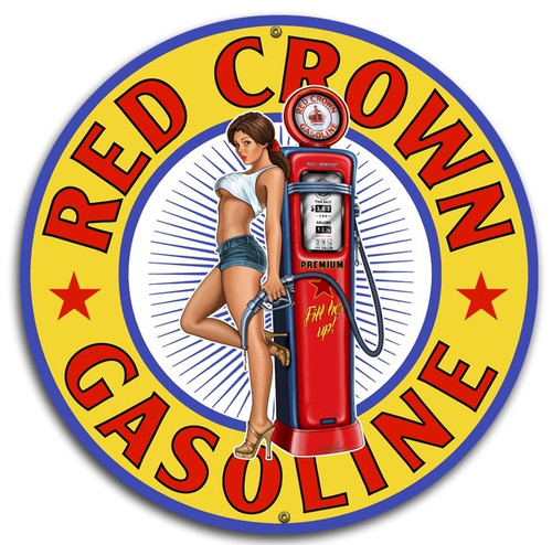"""RED CROWN GAS""  ROUND  METAL  SIGN"