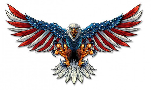 """Eagle  With  US  Flag  Wings  Spread"""