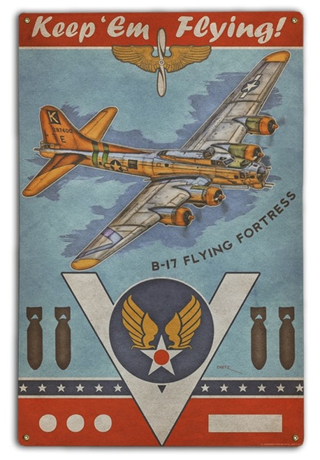 """B-17 FLYING FORTRESS""   METAL   SIGN"