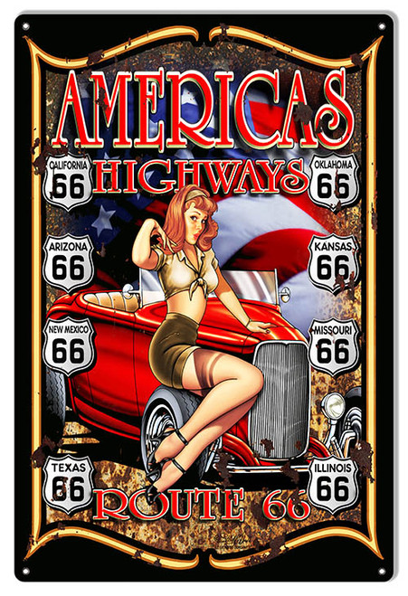 """""""ROUTE  66 --AMERICA'S  HIGHWAY""""  METAL SIGN"""