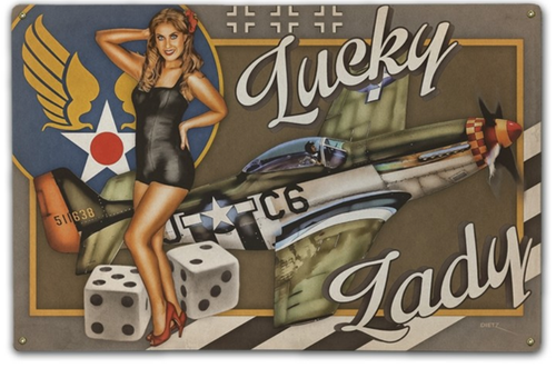"""""""LUCKY  LADY""""  METAL  SIGN"""