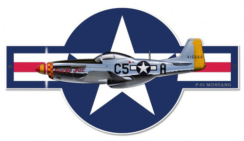 """P-51 Mustang""  Metal  Wall  Art"