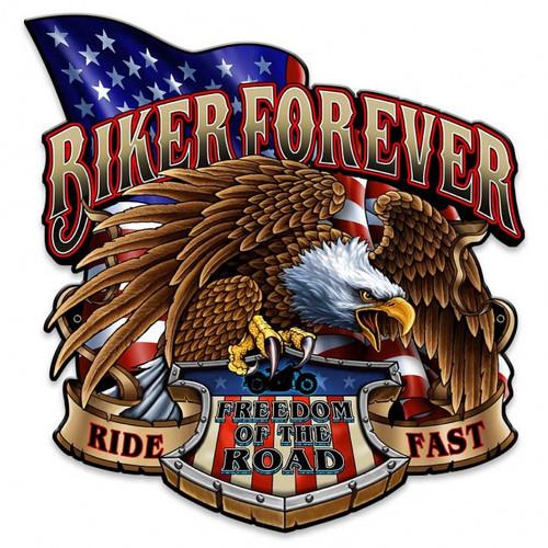 """BIKER  FOREVER  WITH EAGLE""  METAL  SIGN"