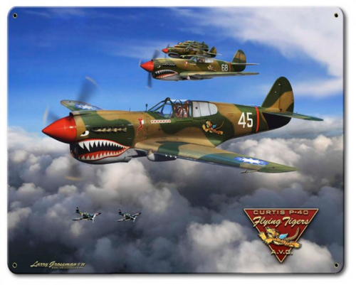 """P-40  FLYING  TIGERS""   METAL  SIGN"