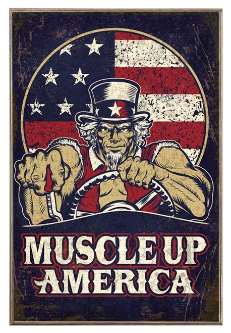 """""""MUSCLE  UP  AMERICA""""  METAL  SIGN"""