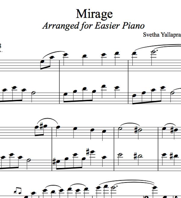 PIANO -  Mirage Sheet Music