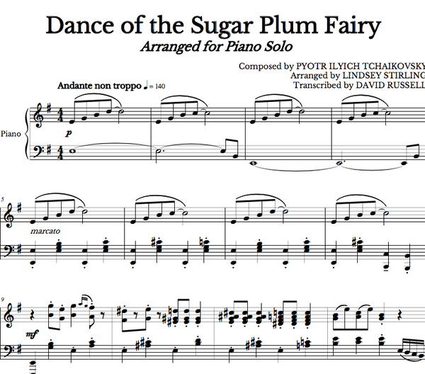 PIANO -  Dance of the Sugar Plum Fairy Sheet Music