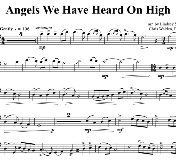 Angels We Have Heard On High w/KARAOKE Play-Along tracks - Sheet Music