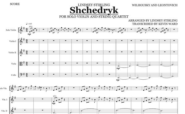 String Quartet+Vln Solo - Shchedryk (Carol of the Bells) w/ KARAOKE Play-Along Track - Sheet Music