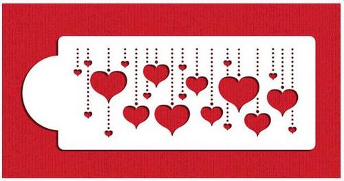 Hanging Hearts Cake Stencil Border