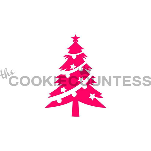 Christmas Tree with Ornaments Cookie Stencil