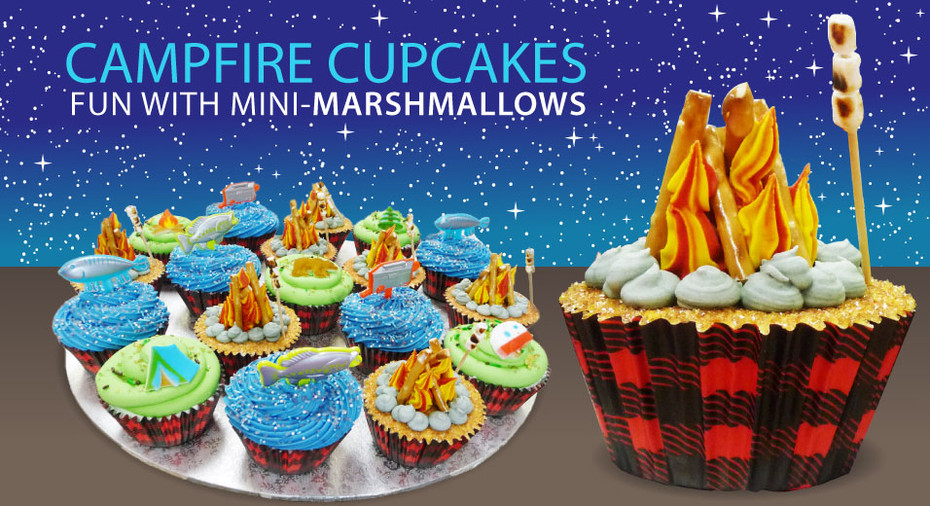 Making Campfire Cupcakes with Pretzels and Mini-Marshmallows