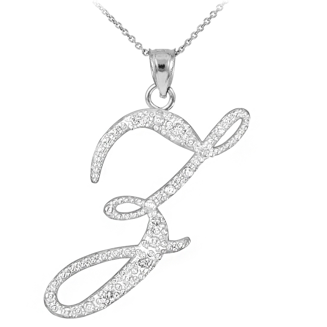 White gold letter script z diamond initial pendant necklace 14k white gold letter script z diamond initial pendant necklace mozeypictures Image collections