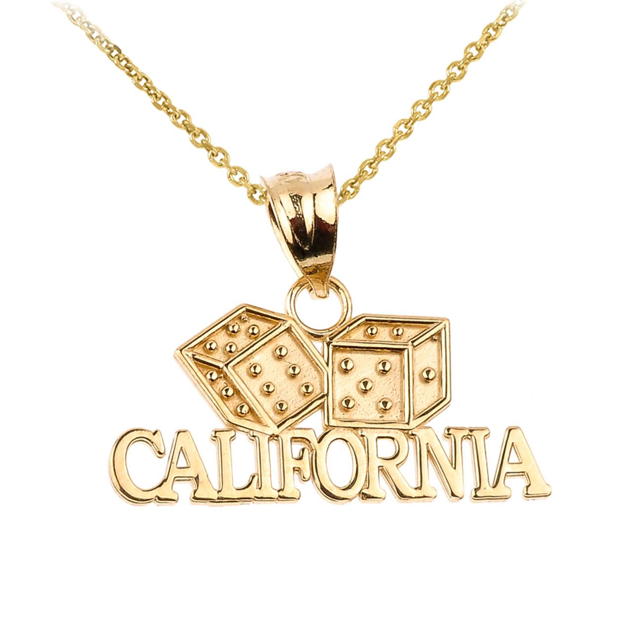 Gold california pendant gold california dice pendant necklace aloadofball Image collections