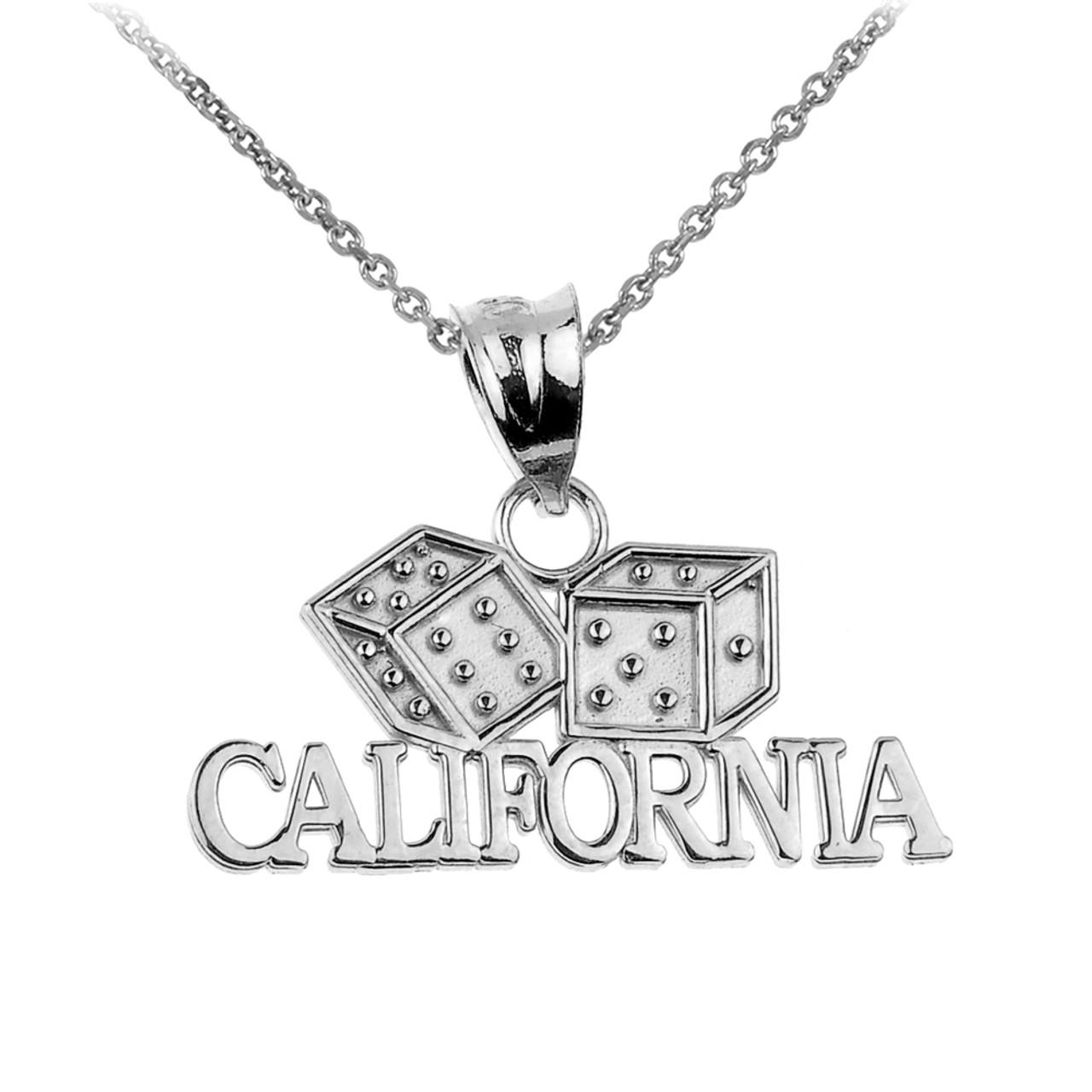Whitegold california pendant white gold california dice pendant necklace aloadofball Choice Image