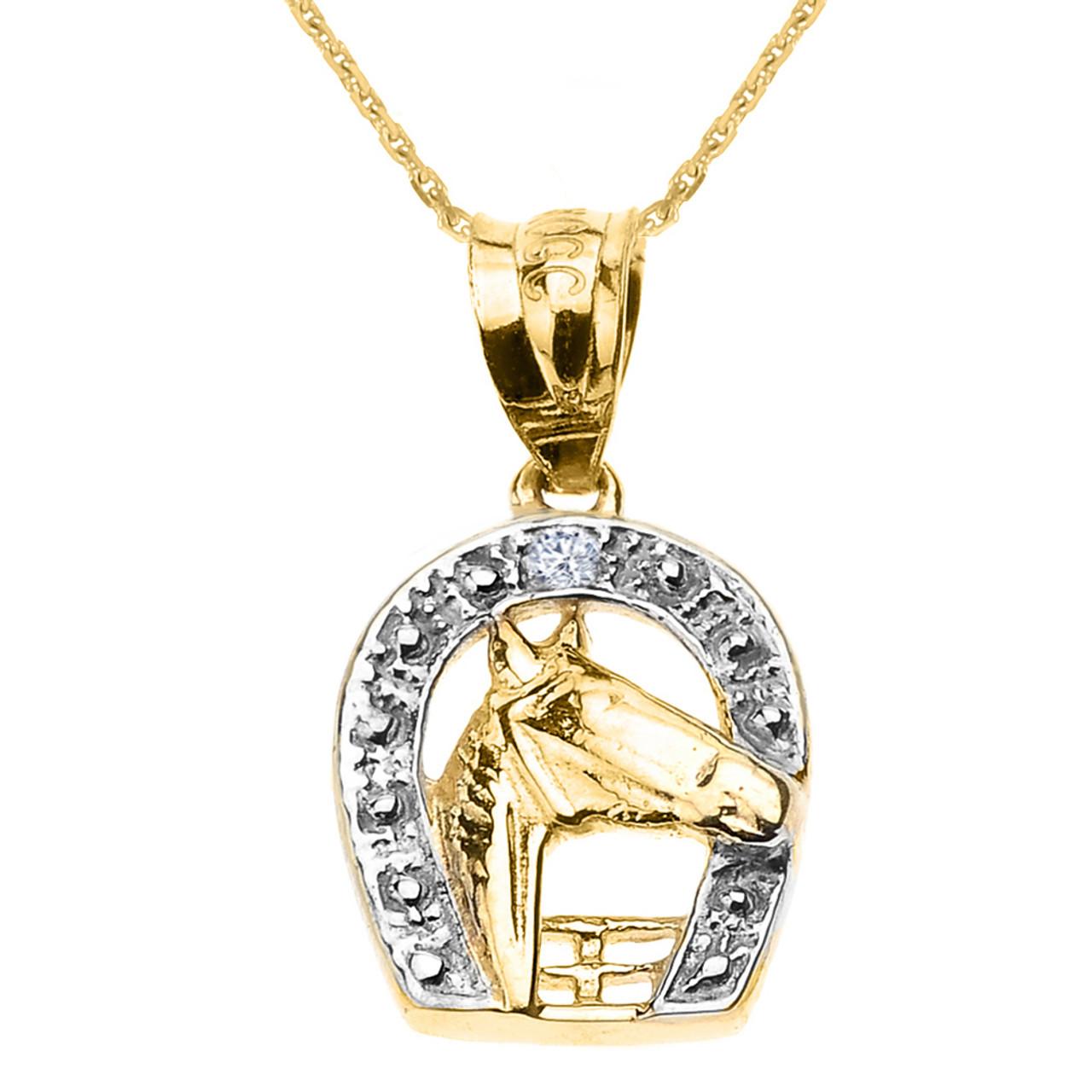 Yellow gold diamond horseshoe with horse head pendant necklace aloadofball Choice Image