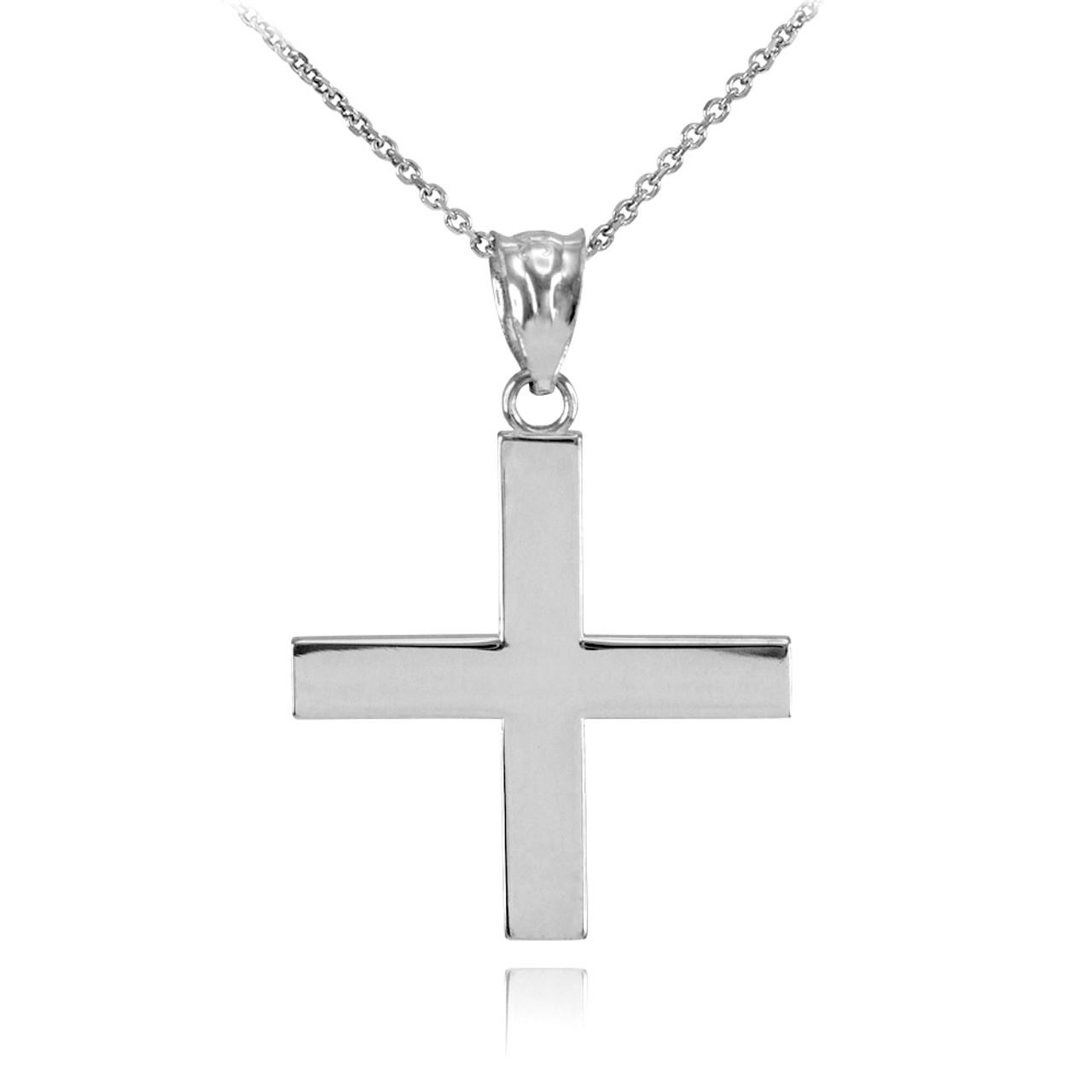 Silver Greek Cross Pendant Necklace