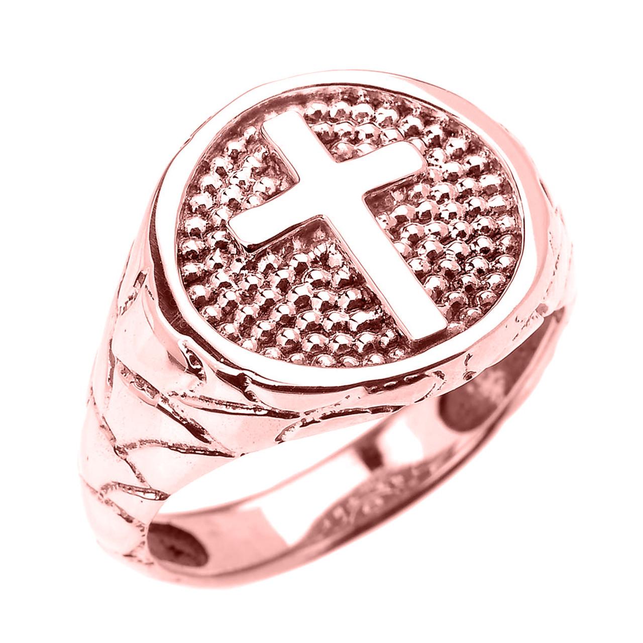 Rose Gold Textured Band Christian Religious Cross Men\'s Ring