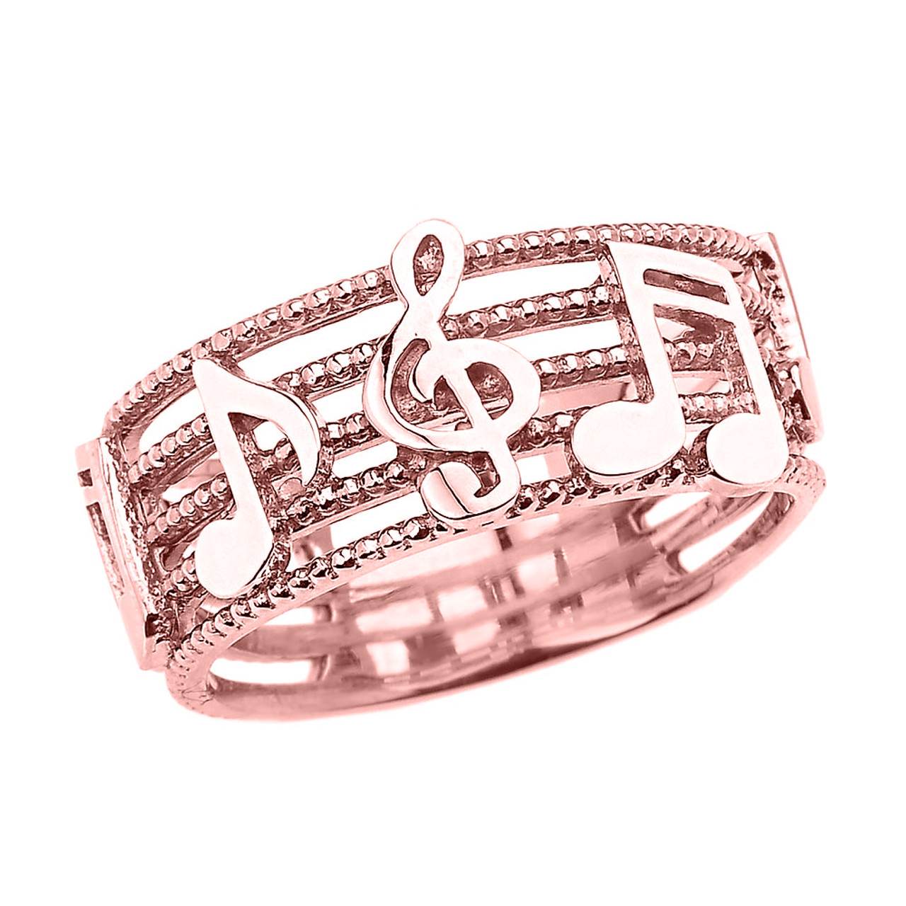Rose Gold Treble Clef with Musical Notes Band Ring 8.0 MM