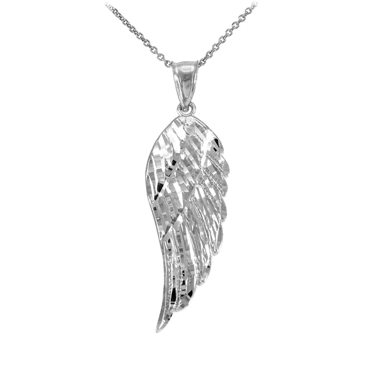 with in silver necklace diamonds angel wing pendant sterling