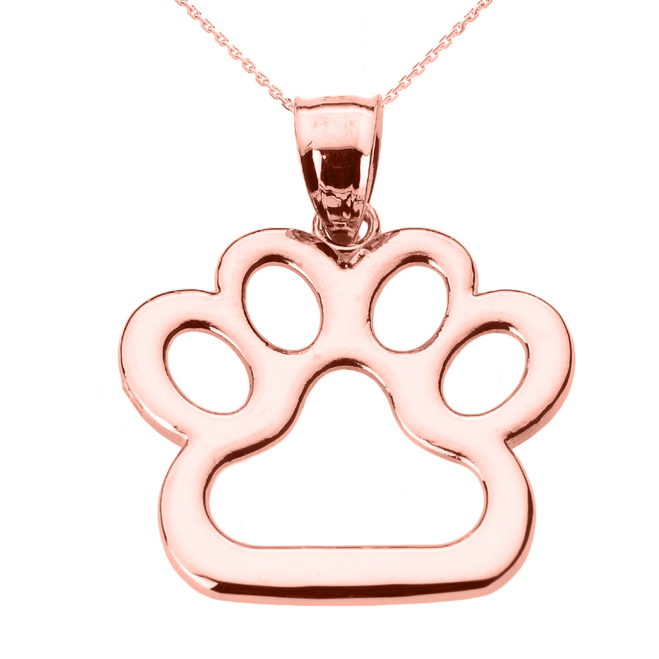 Gold Dog Paw Print Pendant Necklace
