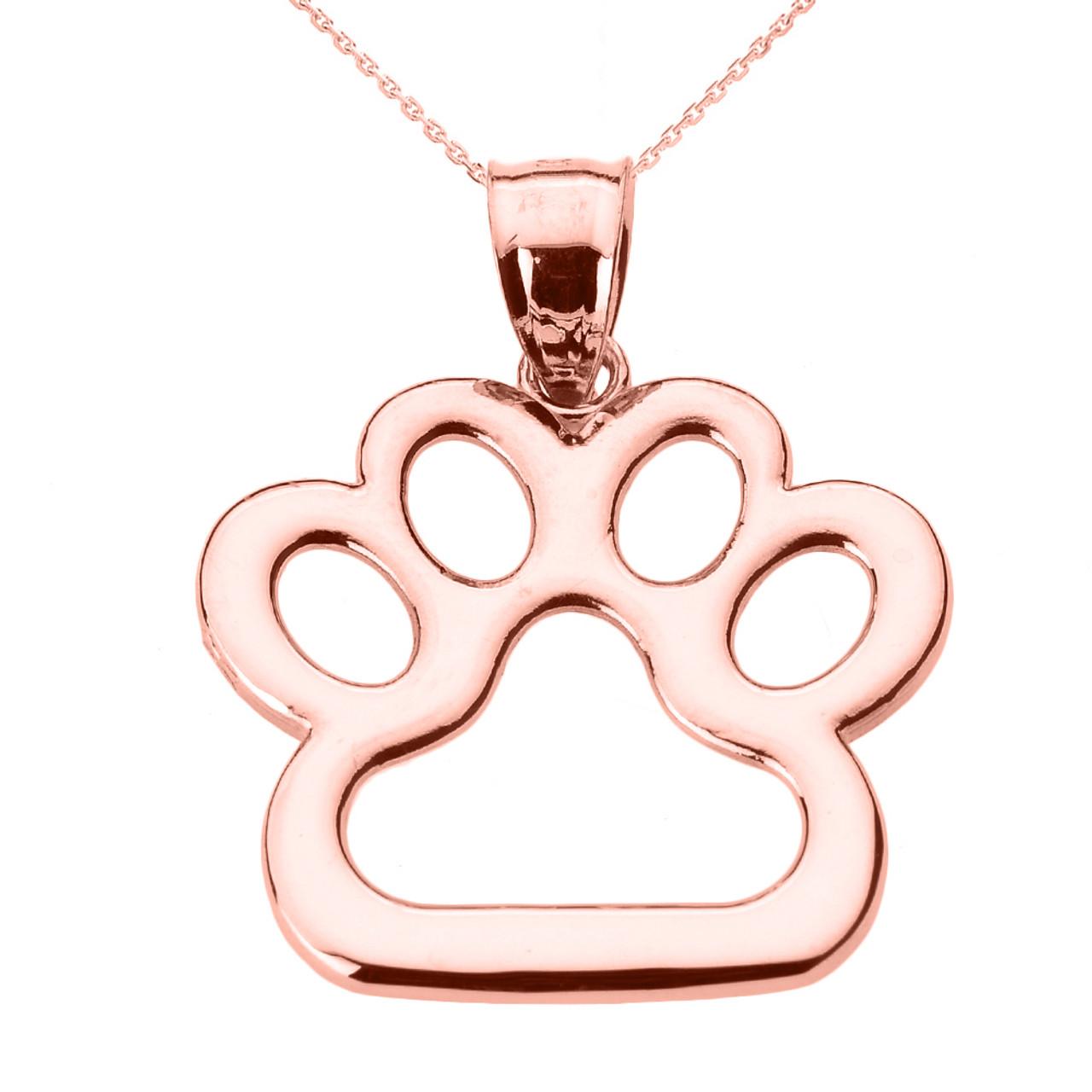 Rose gold dog paw print pendant necklace aloadofball Images